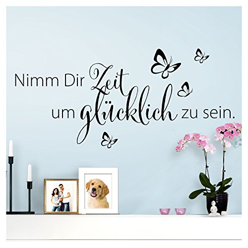 Wandaro Wandtattoo Spruch Nimm Dir Zeit um glücklich I schwarz 80 x 36 cm I  Wohnzimmer Schlafzimmer Sprüche Wandsticker Wandbild Wandtatoo Glück ...