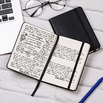 2 Stück Dotted Bullet Journal / A6 Dotted Notizbuch - Premium Dickes Papier Exekutive Hardcover Punktiertes Notizbücher mit Pocket + Markierungsband, Gebänderte, 145 X 105mm - Lemome - 7