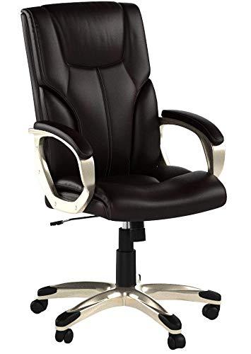 AmazonBasics Büro-Chefsessel, Höhenverstellbar, mit hoher Rückenlehne - Braun - 3