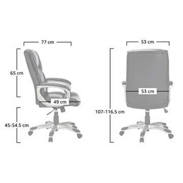 AmazonBasics Büro-Chefsessel, Höhenverstellbar, mit hoher Rückenlehne - Braun - 6