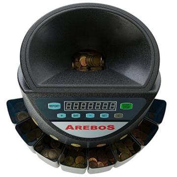 AREBOS Münzzähler Geldzählmaschine/für Euro Münzen/Schwarz / 300 Münzen pro Minute - 3