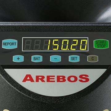 AREBOS Münzzähler Geldzählmaschine/für Euro Münzen/Schwarz / 300 Münzen pro Minute - 4