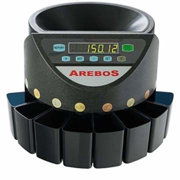AREBOS Münzzähler Geldzählmaschine/für Euro Münzen/Schwarz / 300 Münzen pro Minute - 1