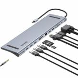Baseus 11 in 1 USB C Hub Adapter, Typ C Laptop Dockingstation mit Gigabit Ethernet, 3 * USB 3.0, USB-C Stromversorgung, 2 * 4K HDMI, VGA, Audio Mic Port, SD/TF Kartenleser für MacBook Pro usw. - 1