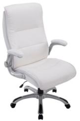 Bürostuhl XXL Villach mit Kunstlederbezug I Höhenverstellbarer Schreibtischstuhl mit klappbaren Armlehnen I Drehstuhl mit Laufrollen, Farbe:weiß - 1