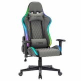 CARO-Möbel Gamingstuhl Legend mit LED Beleuchtung, Ergonomischer Racing Stuhl, Gamer Drehstuhl mit Armlehnen, Bezug aus Lederimitat in grau - 1