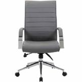 Certeo Chefsessel Identity mit Lederbezug und hoher Rückenlehne, grau - Bürostuhl mit Soft Touch Leder - Schreibtischstuhl mit italienischem Design - 1