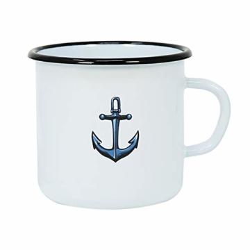 com-four® 3X Emaille Deko-Becher aus emaliertem Stahl in 3 verschiedenen maritimen Designs - Kaffeetasse für Outdoor und Camping - 350 ml - 2