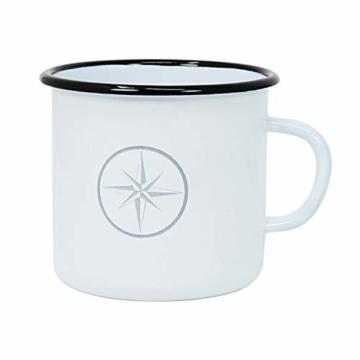 com-four® 3X Emaille Deko-Becher aus emaliertem Stahl in 3 verschiedenen maritimen Designs - Kaffeetasse für Outdoor und Camping - 350 ml - 3