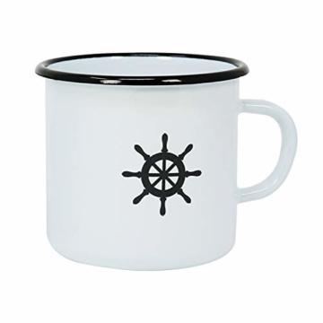 com-four® 3X Emaille Deko-Becher aus emaliertem Stahl in 3 verschiedenen maritimen Designs - Kaffeetasse für Outdoor und Camping - 350 ml - 4
