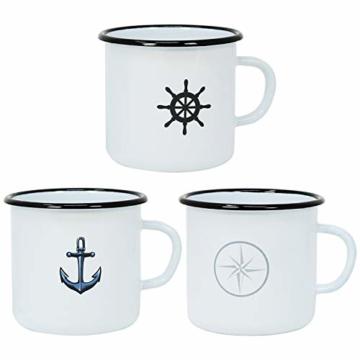 com-four® 3X Emaille Deko-Becher aus emaliertem Stahl in 3 verschiedenen maritimen Designs - Kaffeetasse für Outdoor und Camping - 350 ml - 1