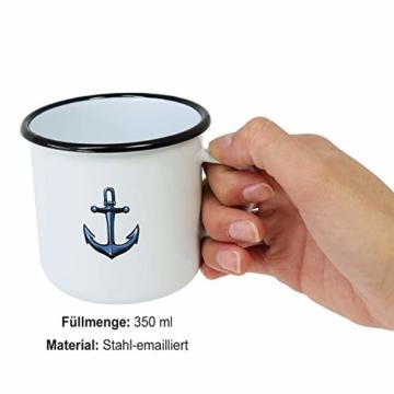 com-four® 3X Emaille Deko-Becher aus emaliertem Stahl in 3 verschiedenen maritimen Designs - Kaffeetasse für Outdoor und Camping - 350 ml - 5