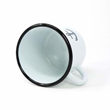 com-four® 3X Emaille Deko-Becher aus emaliertem Stahl in 3 verschiedenen maritimen Designs - Kaffeetasse für Outdoor und Camping - 350 ml - 6