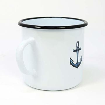 com-four® 3X Emaille Deko-Becher aus emaliertem Stahl in 3 verschiedenen maritimen Designs - Kaffeetasse für Outdoor und Camping - 350 ml - 7