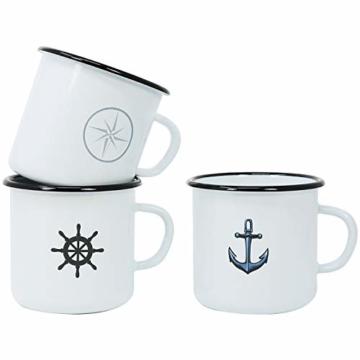 com-four® 3X Emaille Deko-Becher aus emaliertem Stahl in 3 verschiedenen maritimen Designs - Kaffeetasse für Outdoor und Camping - 350 ml - 8