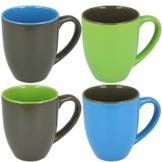 com-four® 4x Kaffeebecher in verschiedene Farben, 300 ml, Porzellan, Kaffeetasse, Kaffeepott (04 Stück - blau/grau/grün) - 1