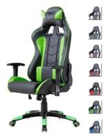 Delman Gaming Stuhl Bürostuhl Racing Stuhl Gamer Ergonomischer Stuhl Einstellbare Armlehne Einteiliger Stahlrahmen Einstellbarer Neigungswinkel 02-1004 (Schwarz-Grün) - 1