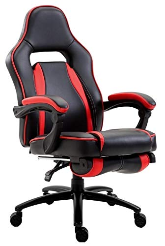 Delman XXL Gaming Stuhl Racing Stuhl Schreibtischstuhl Gaming Chair Drehstuhl Höhenverstellbar mit Fußstütze Fußablage mit Armlehnen Chefsessel Große Sitzfläche Dicke Polsterung 11 cm RS0019RD - 4