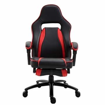Delman XXL Gaming Stuhl Racing Stuhl Schreibtischstuhl Gaming Chair Drehstuhl Höhenverstellbar mit Fußstütze Fußablage mit Armlehnen Chefsessel Große Sitzfläche Dicke Polsterung 11 cm RS0019RD - 8