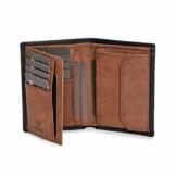 DONBOLSO® Geldbörse Wien I Großes Portemonnaie für Herren I Geldbeutel aus Leder mit RFID-Schutz I Schwarz-Braun - 1