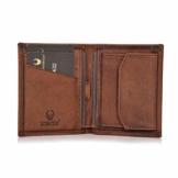DONBOLSO® Rom I Mini Geldbörse mit RFID-Schutz I Slim Wallet mit Münzfach I echtes Leder I Geldbeutel in Braun Vintage - 1