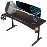 EUREKA ERGONOMIC Gaming Tisch P60 Gaming Stil Schreibtisch PC Schreibtisch Spieltisch für Spieler Computertisch für zu Hause und im Büro schwarz - 1
