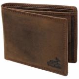 Fa.Volmer® Herren Leder Geldbörse braun mit RFID-Schutz Echtleder Geldbeutel Portemonnaie Used Look #VO19 (braun) - 1