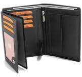 Fa.Volmer ® Schwarze Ledergeldbörse aus echtem Leder in Hochformat mit TÜV geprüftem RFID Schutz Phoenix 3 - 1