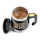 Fdit Magnetischer mischender Becher Selbst rührende Kaffeetasse Edelstahl Selbstmagnetbecher für Kaffee Tee heiße Schokoladen Milch Kakao Protein (Schwarz) - 1