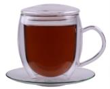 """Feelino XXL 400ml doppelwandige Tasse inkl. GLASDECKEL """"BullinO"""" - große doppelwandige Thermotasse mit Untersetzer und Glasdeckel - edle und extra große Glas-Teetasse / Kaffeetasse mit Schwebeeffekt, Glastasse mit Henkel und Untersetzer - 1"""