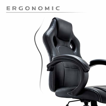 Gaming Stuhl Chair, Hoch Rücken Ergonomischer PU Leder Bürostuhl Racing Sportsitz Gaming Drehstuhl Computer Schreibtisch Sportsitz Gaming schreibtischstuhl Büro Chefsessel Kunstleder (Schwarz) - 6