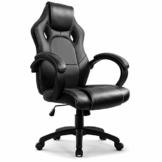Gaming Stuhl Chair, Hoch Rücken Ergonomischer PU Leder Bürostuhl Racing Sportsitz Gaming Drehstuhl Computer Schreibtisch Sportsitz Gaming schreibtischstuhl Büro Chefsessel Kunstleder (Schwarz) - 1