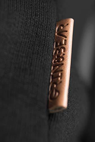 Grin&Bear Herren Kapuzenpullover Kapuzenjacke Hoodie mit hoch abschließendem Kragen GEC494 (M, Schwarz) - 4