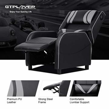 GTPLAYER Gaming Sessel Stuhl Single Wohnzimmer Sofa Recliner PU Leder Recliner Sitz Heimkino Sitz Rückenlehne Verstellbarer Drehsessel mit Lautsprecher grau - 2
