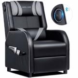 GTPLAYER Gaming Sessel Stuhl Single Wohnzimmer Sofa Recliner PU Leder Recliner Sitz Heimkino Sitz Rückenlehne Verstellbarer Drehsessel mit Lautsprecher grau - 1