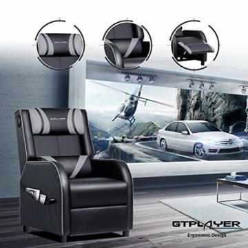 GTPLAYER Gaming Sessel Stuhl Single Wohnzimmer Sofa Recliner PU Leder Recliner Sitz Heimkino Sitz Rückenlehne Verstellbarer Drehsessel mit Lautsprecher grau - 3
