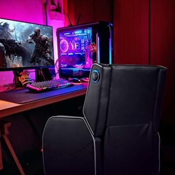 GTPLAYER Gaming Sessel Stuhl Single Wohnzimmer Sofa Recliner PU Leder Recliner Sitz Heimkino Sitz Rückenlehne Verstellbarer Drehsessel mit Lautsprecher grau - 4