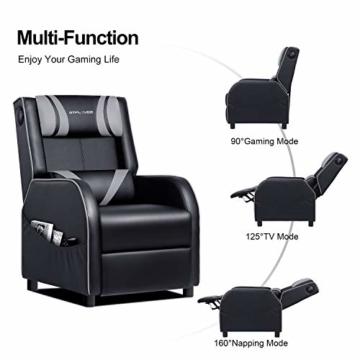 GTPLAYER Gaming Sessel Stuhl Single Wohnzimmer Sofa Recliner PU Leder Recliner Sitz Heimkino Sitz Rückenlehne Verstellbarer Drehsessel mit Lautsprecher grau - 5