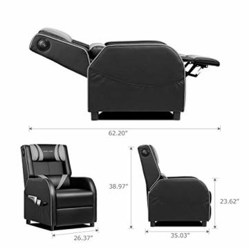 GTPLAYER Gaming Sessel Stuhl Single Wohnzimmer Sofa Recliner PU Leder Recliner Sitz Heimkino Sitz Rückenlehne Verstellbarer Drehsessel mit Lautsprecher grau - 6