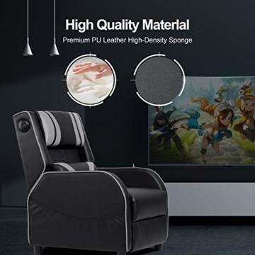 GTPLAYER Gaming Sessel Stuhl Single Wohnzimmer Sofa Recliner PU Leder Recliner Sitz Heimkino Sitz Rückenlehne Verstellbarer Drehsessel mit Lautsprecher grau - 7