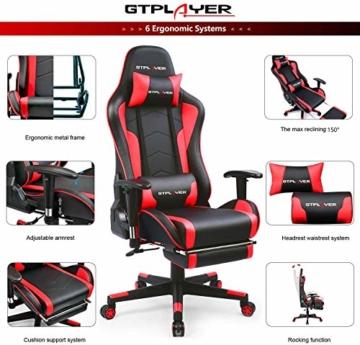 GTPLAYER Gaming Stuhl mit Fußstützen Bluetooth Lautsprecher Musik Stuhl Ergonomischer Computerstuhl Schreibtischstuhl Rot - 2