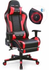 GTPLAYER Gaming Stuhl mit Fußstützen Bluetooth Lautsprecher Musik Stuhl Ergonomischer Computerstuhl Schreibtischstuhl Rot - 1