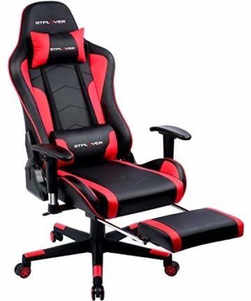 GTPLAYER Gaming Stuhl mit Fußstützen Bluetooth Lautsprecher Musik Stuhl Ergonomischer Computerstuhl Schreibtischstuhl Rot - 4