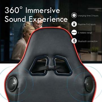 GTPLAYER Gaming Stuhl mit Fußstützen Bluetooth Lautsprecher Musik Stuhl Ergonomischer Computerstuhl Schreibtischstuhl Rot - 5