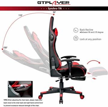 GTPLAYER Gaming Stuhl mit Fußstützen Bluetooth Lautsprecher Musik Stuhl Ergonomischer Computerstuhl Schreibtischstuhl Rot - 6