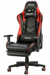 Hbada Gaming Stuhl Racing Stuhl Bürostuhl Chefsessel ergonomischer Drehstuhl Computerstuhl Kunstleder mit Fußstütze mit Kopfstütze und Ledenkissen Rot - 1