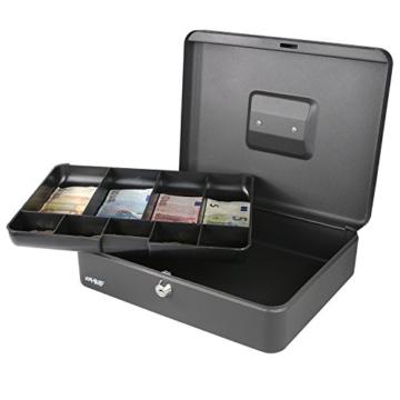 HMF 10019-02 Geldkassette Scheinfächer Münzfächer | 30,0 x 24,0 x 9,0 cm | Schwarz - 4
