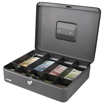HMF 10019-02 Geldkassette Scheinfächer Münzfächer | 30,0 x 24,0 x 9,0 cm | Schwarz - 5