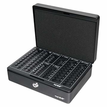 HMF 208-02 Geldkassette Euro-Münzbrett 25 x 18 x 9 cm, schwarz - 1