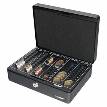 HMF 208-02 Geldkassette Euro-Münzbrett 25 x 18 x 9 cm, schwarz - 5